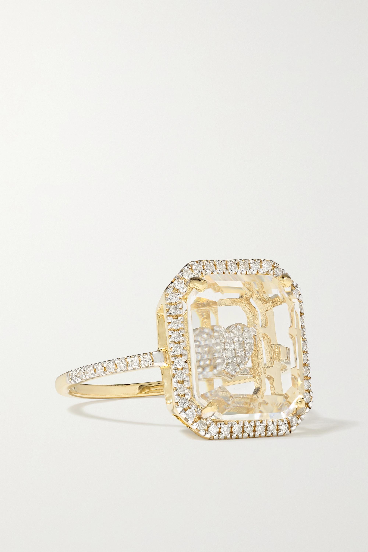 Mateo - 14-karat gold, crystal and diamond ring