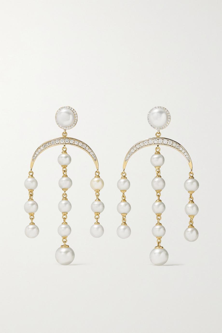 Mateo Ohrringe aus 14 Karat Gold mit Diamanten und Perlen
