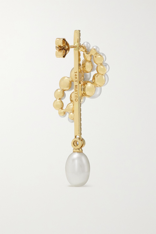 Mateo Boucles d'oreilles en or 14 carats (585/1000), perles et diamants