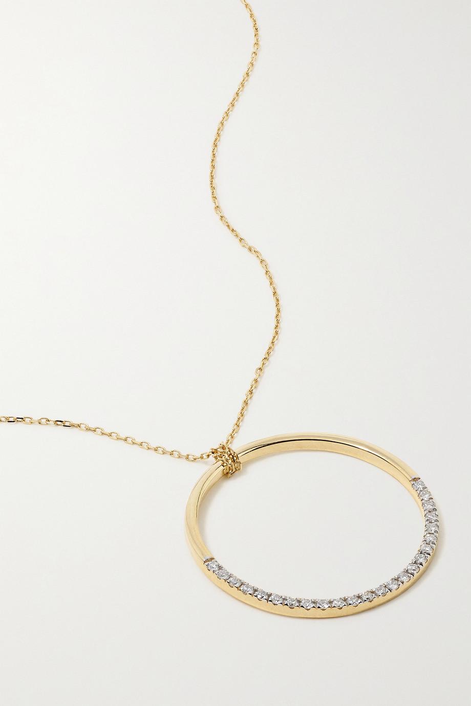 Mateo Half Moon Kette aus 14 Karat Gold mit Diamanten