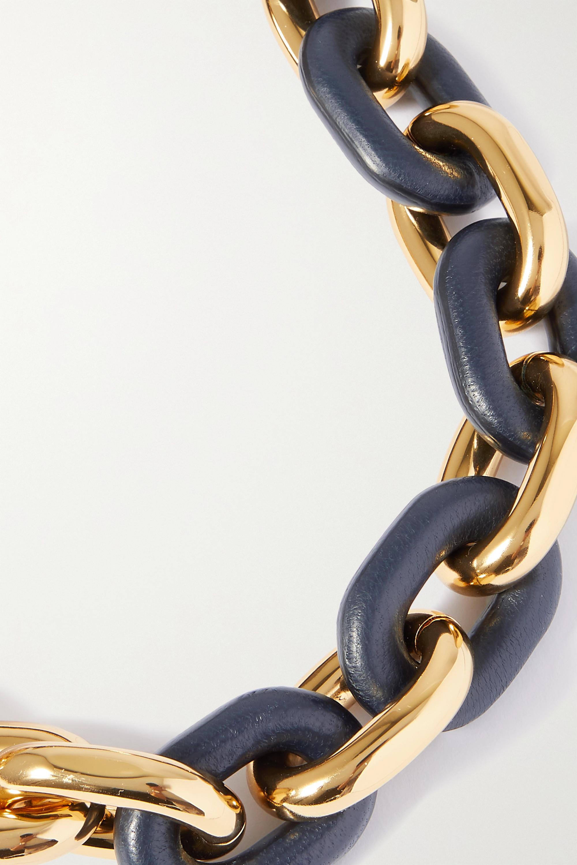 Paco Rabanne XL Link goldfarbene Kette mit Details aus Leder