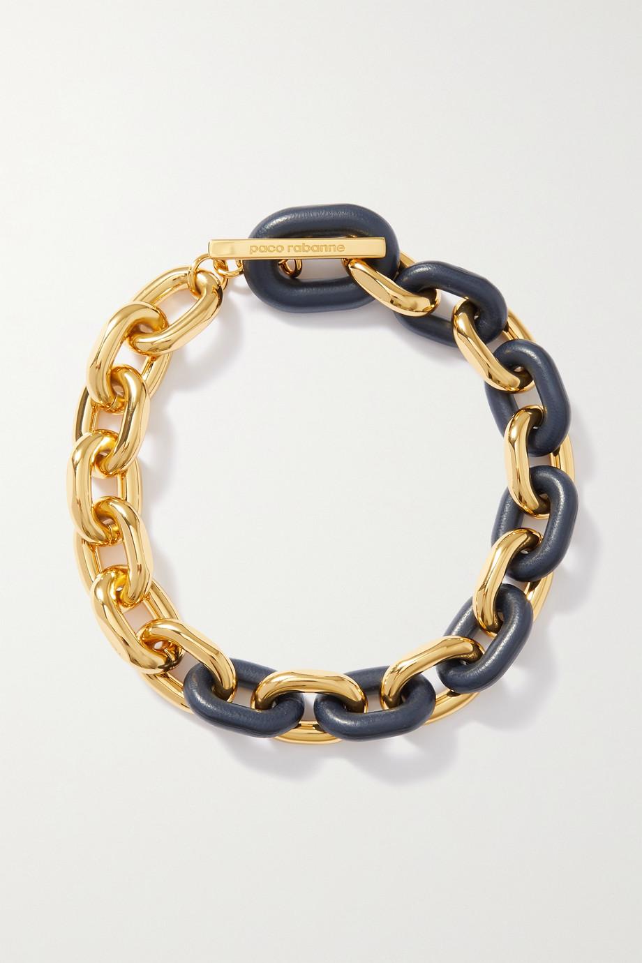 Paco Rabanne Collier en métal doré et cuir XL Link