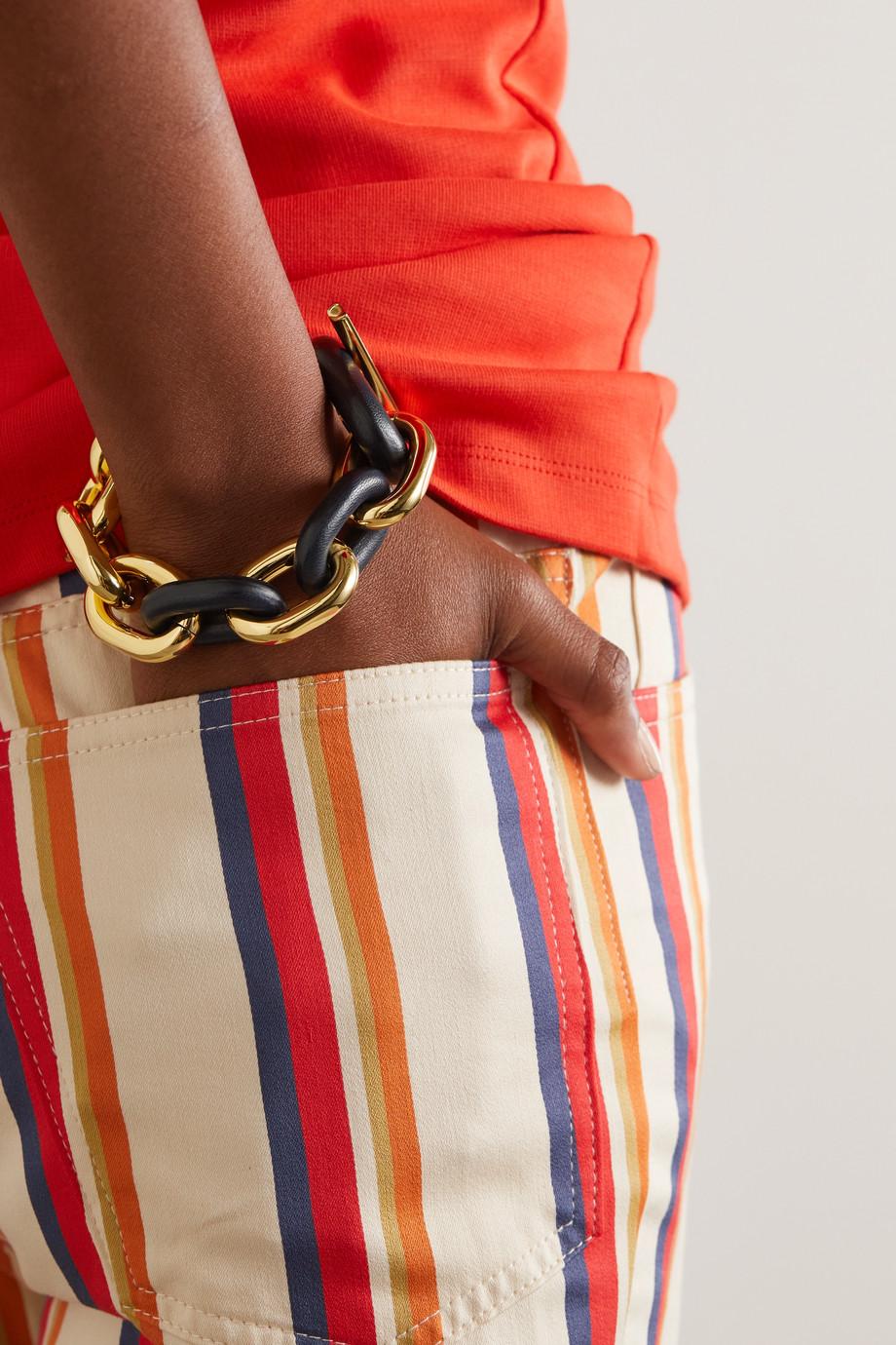 Paco Rabanne Bracelet en métal doré et cuir XL Link
