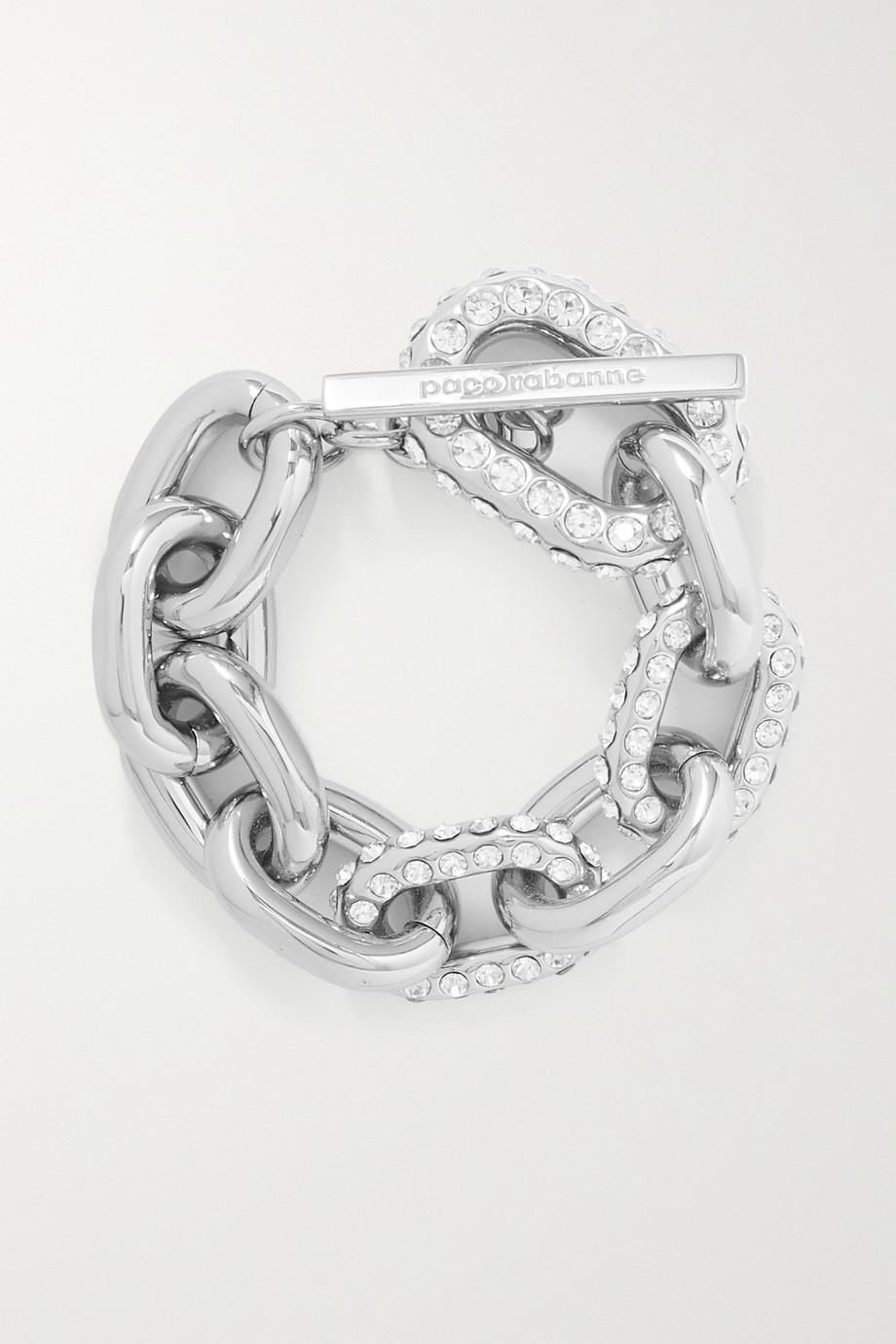 Paco Rabanne Bracelet en métal argenté et cristaux