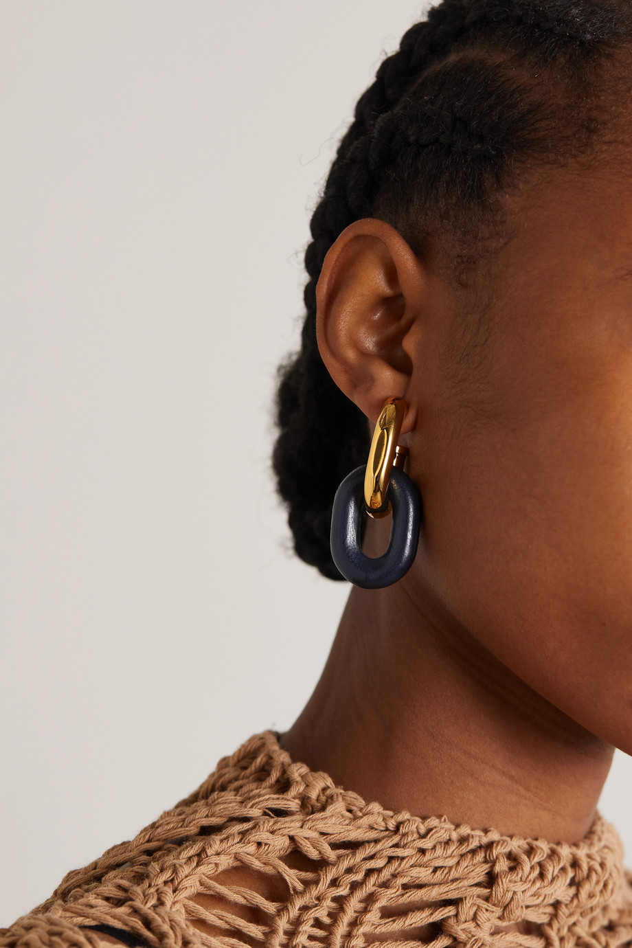 Paco Rabanne XL Link gold-tone and leather earrings