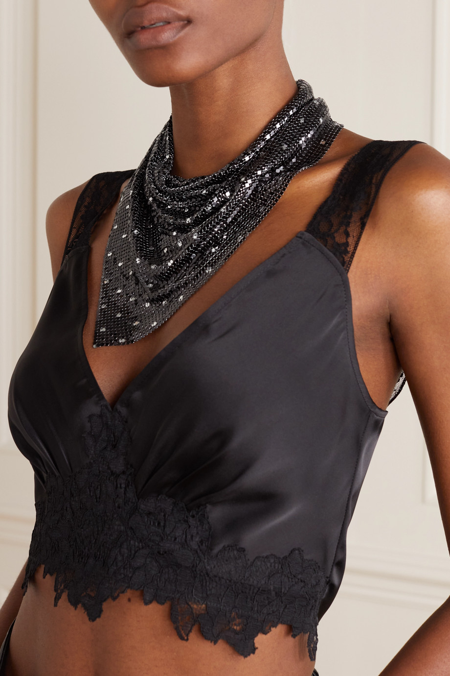 Paco Rabanne Pixel crystal-embellished chainmail scarf