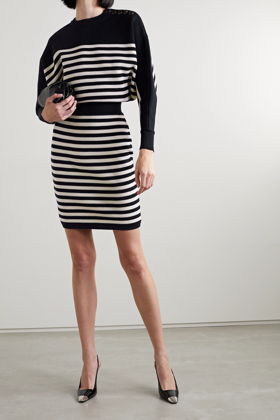 Alexandre Vauthier Striped ribbed wool dress