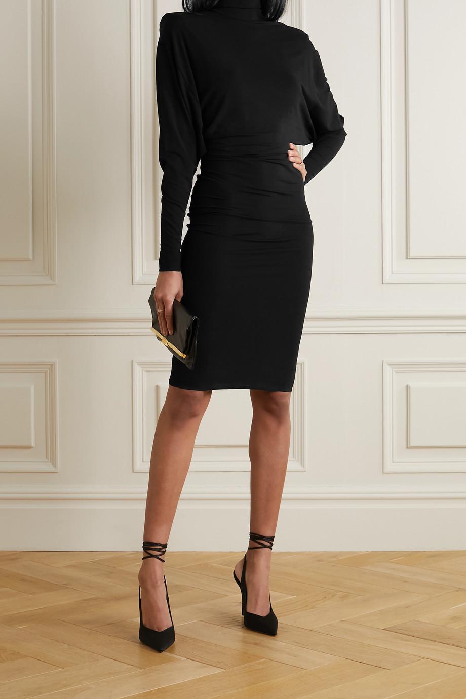 Alexandre Vauthier Stretch-crepe de chine turtleneck dress