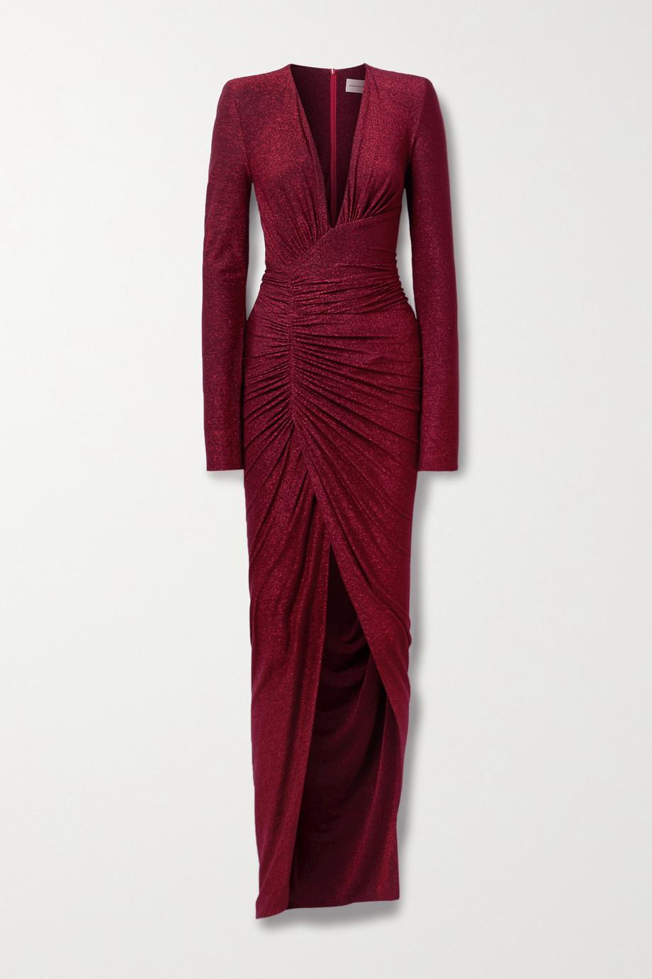 Alexandre Vauthier Asymmetric ruched stretch-Lurex gown