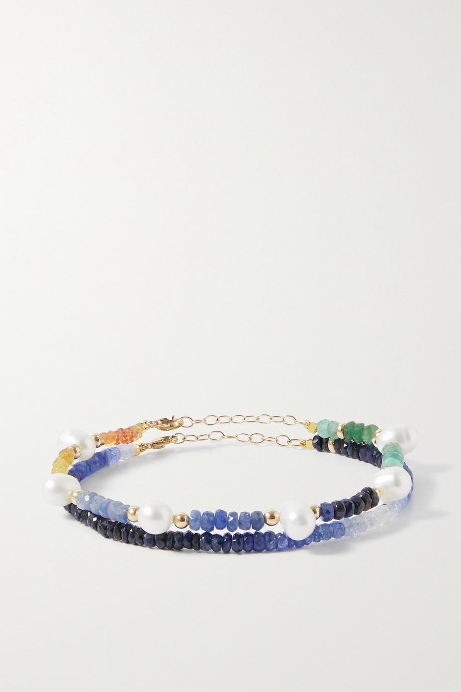 JIA JIA Set aus zwei Armbändern mit Saphiren, Perlen und Details aus Gold
