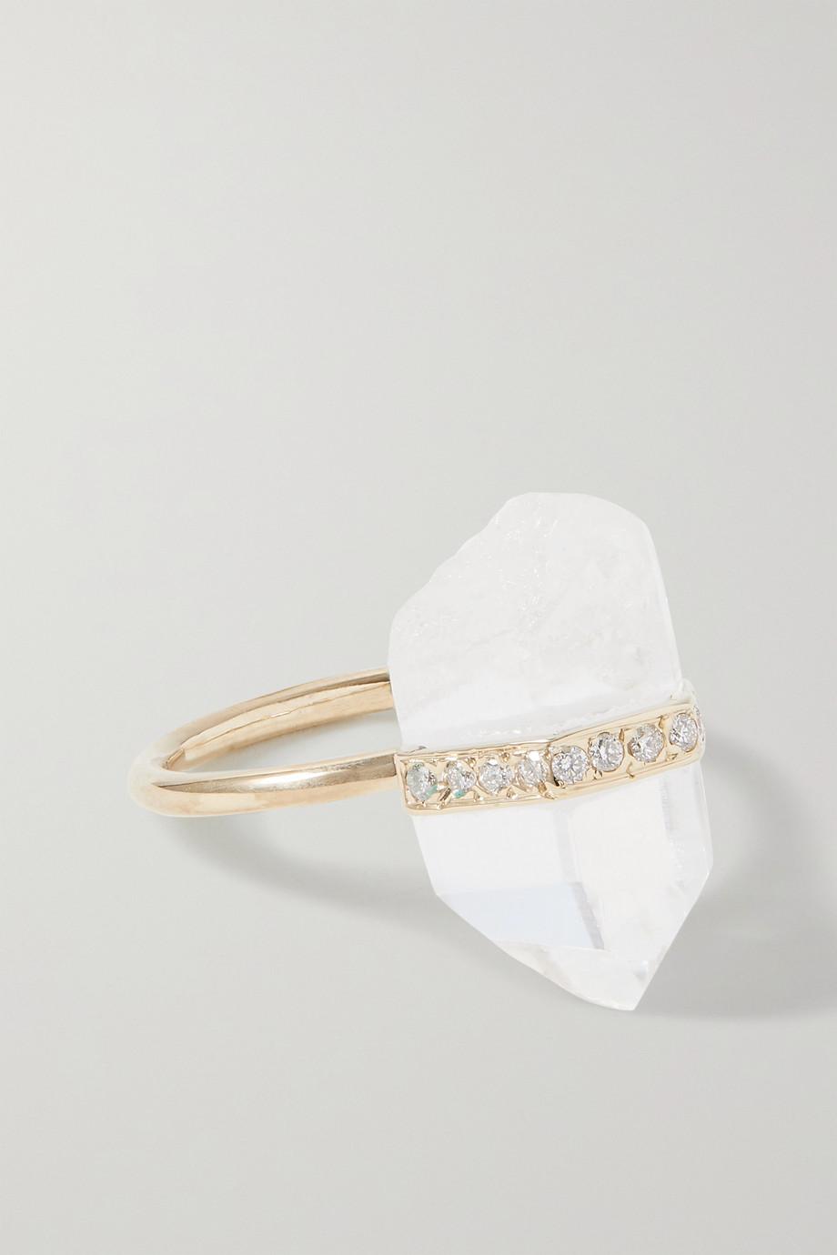 JIA JIA Bague en or 14 carats (585/1000), quartz et diamants