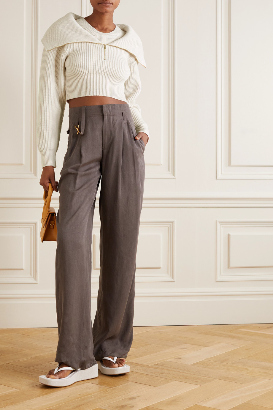 Jacquemus Risoul cropped layered ribbed merino wool sweater
