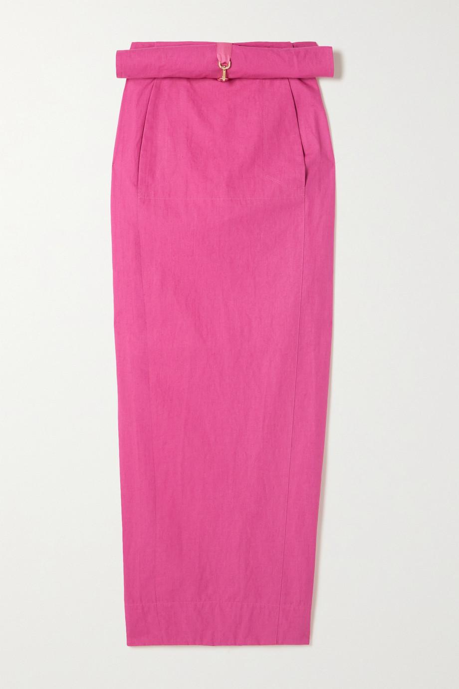 Jacquemus Terra layered linen maxi skirt