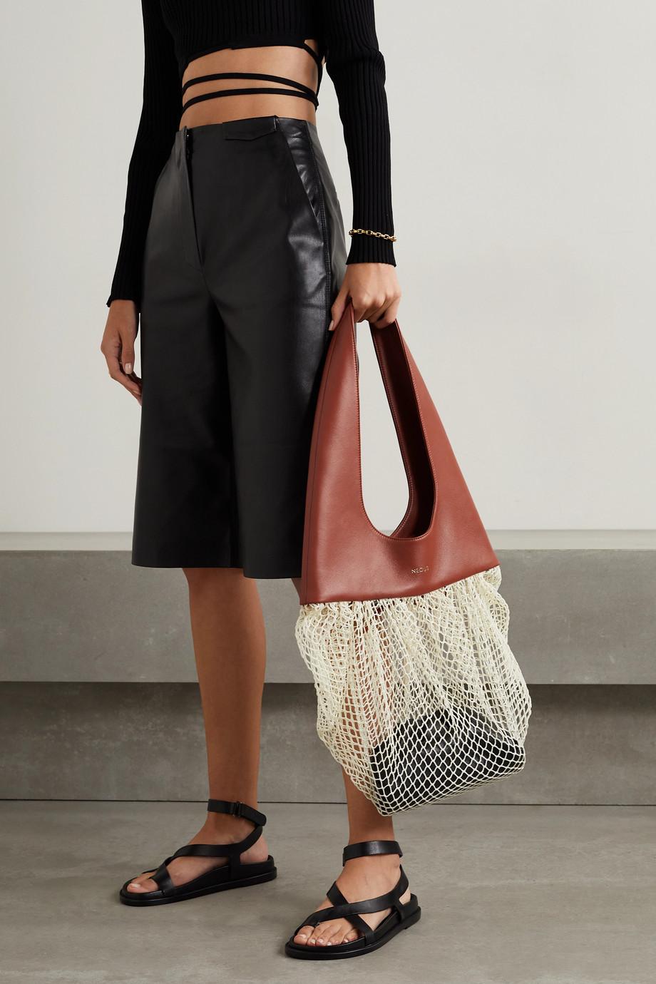 Neous Tucana leather and macramé shoulder bag