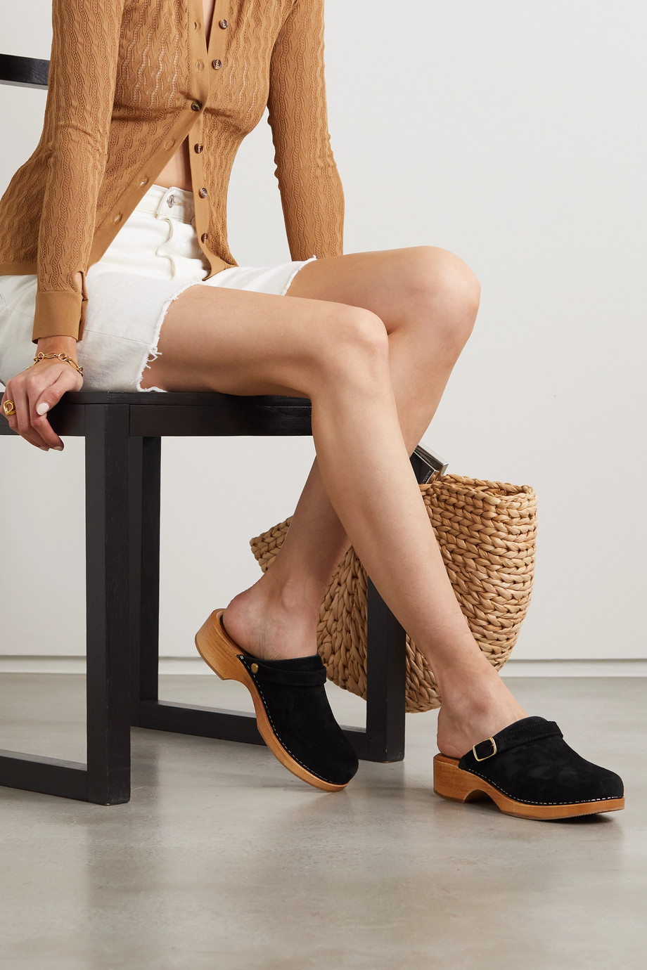 RE/DONE Leather-trimmed suede platform clogs