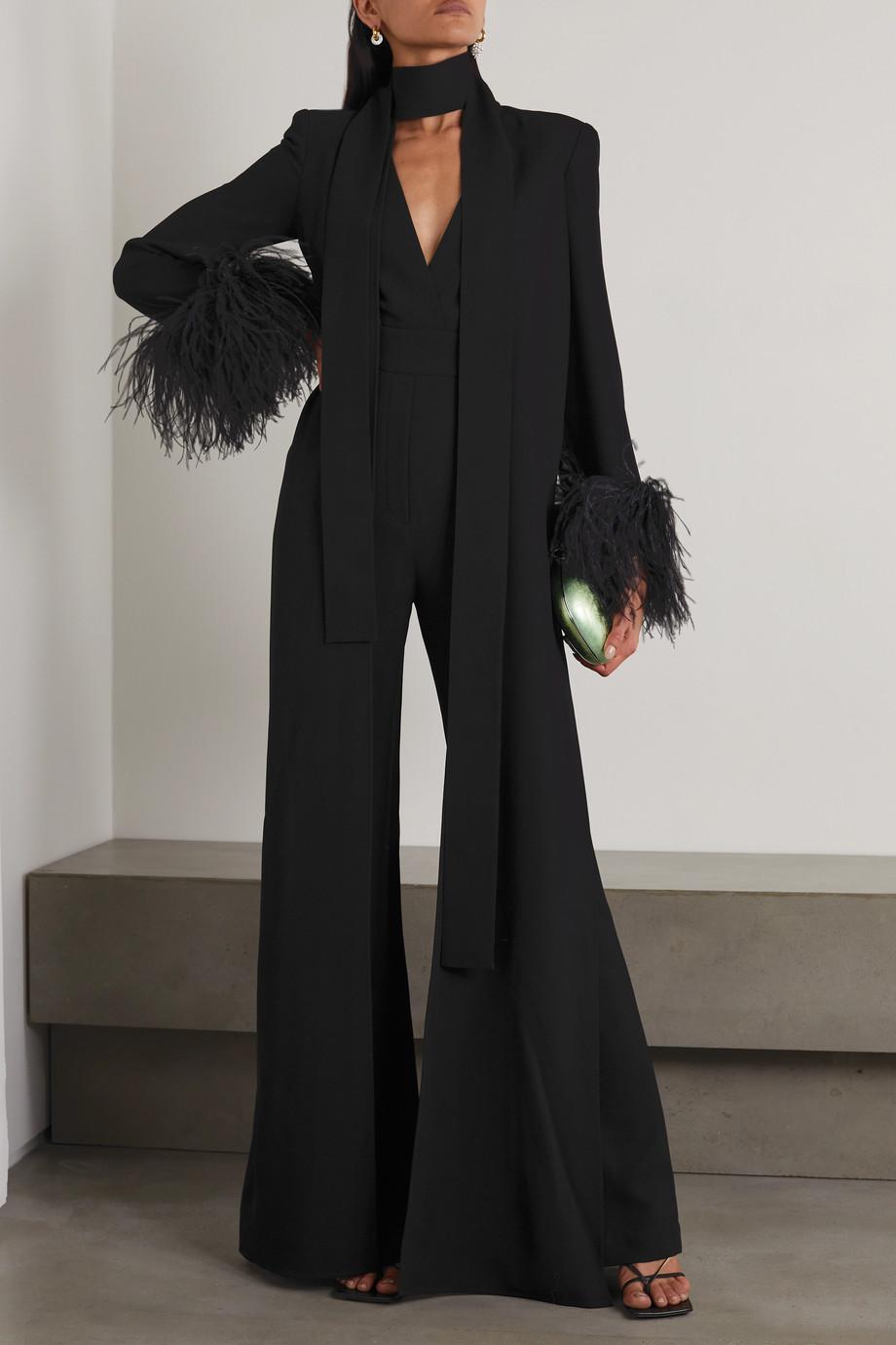 Elie Saab Combi-pantalon en crêpe à plumes et à drapé