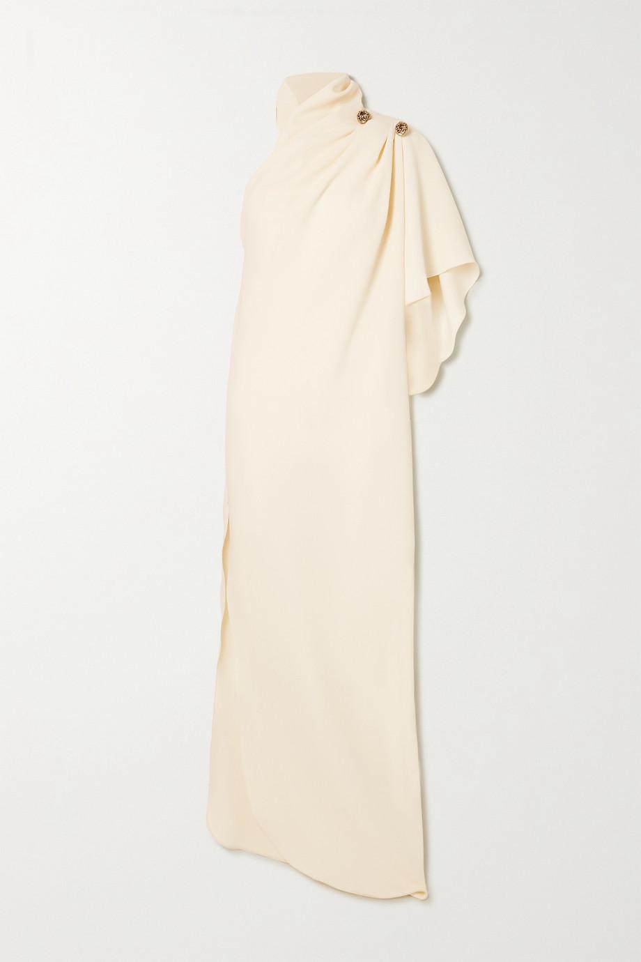 Elie Saab One-sleeve embellished draped crepe gown