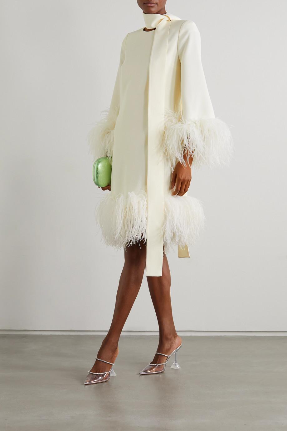 Elie Saab Mini-robe en crêpe à plumes