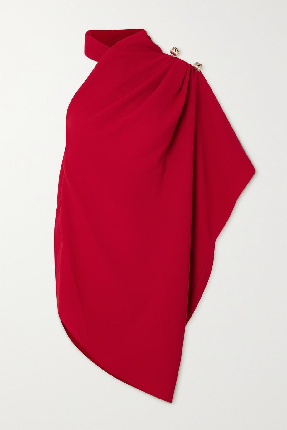 Elie Saab One-sleeve draped crepe top