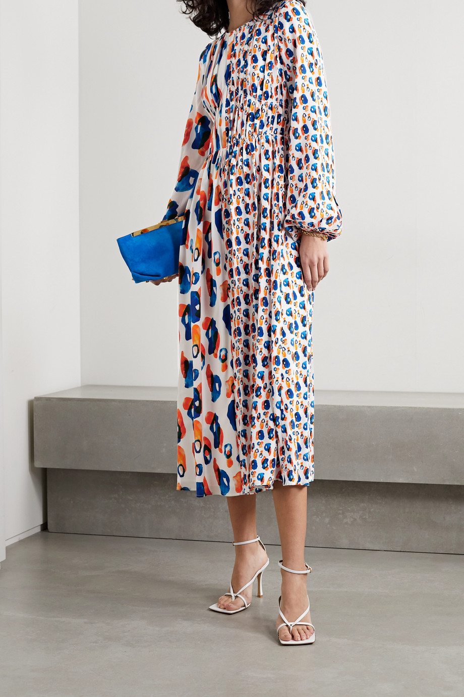 Jason Wu Pleated printed silk crepe de chine midi dress