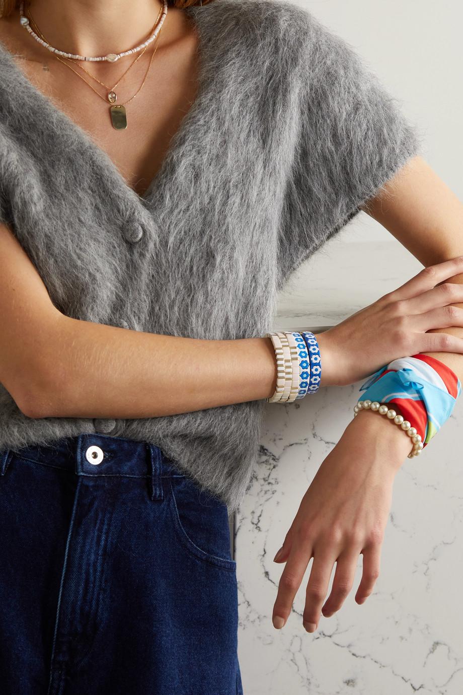 Roxanne Assoulin Lot de trois bracelets en émail et métal doré Triple Creme