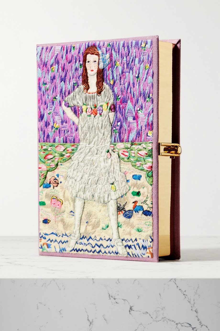 Olympia Le-Tan Independent Girl embroidered appliquéd canvas clutch
