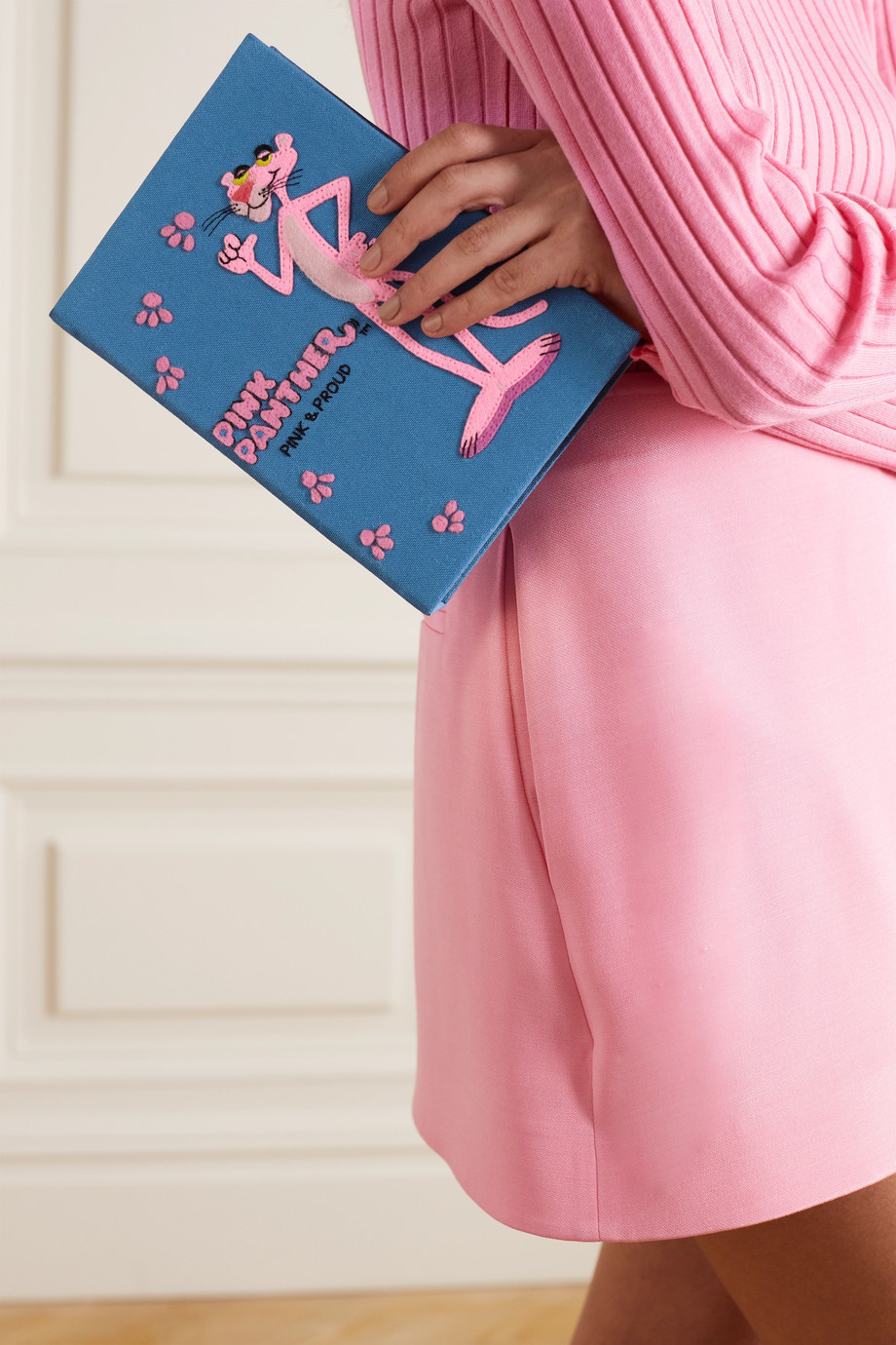Olympia Le-Tan Pink Panther embroidered appliquéd canvas clutch