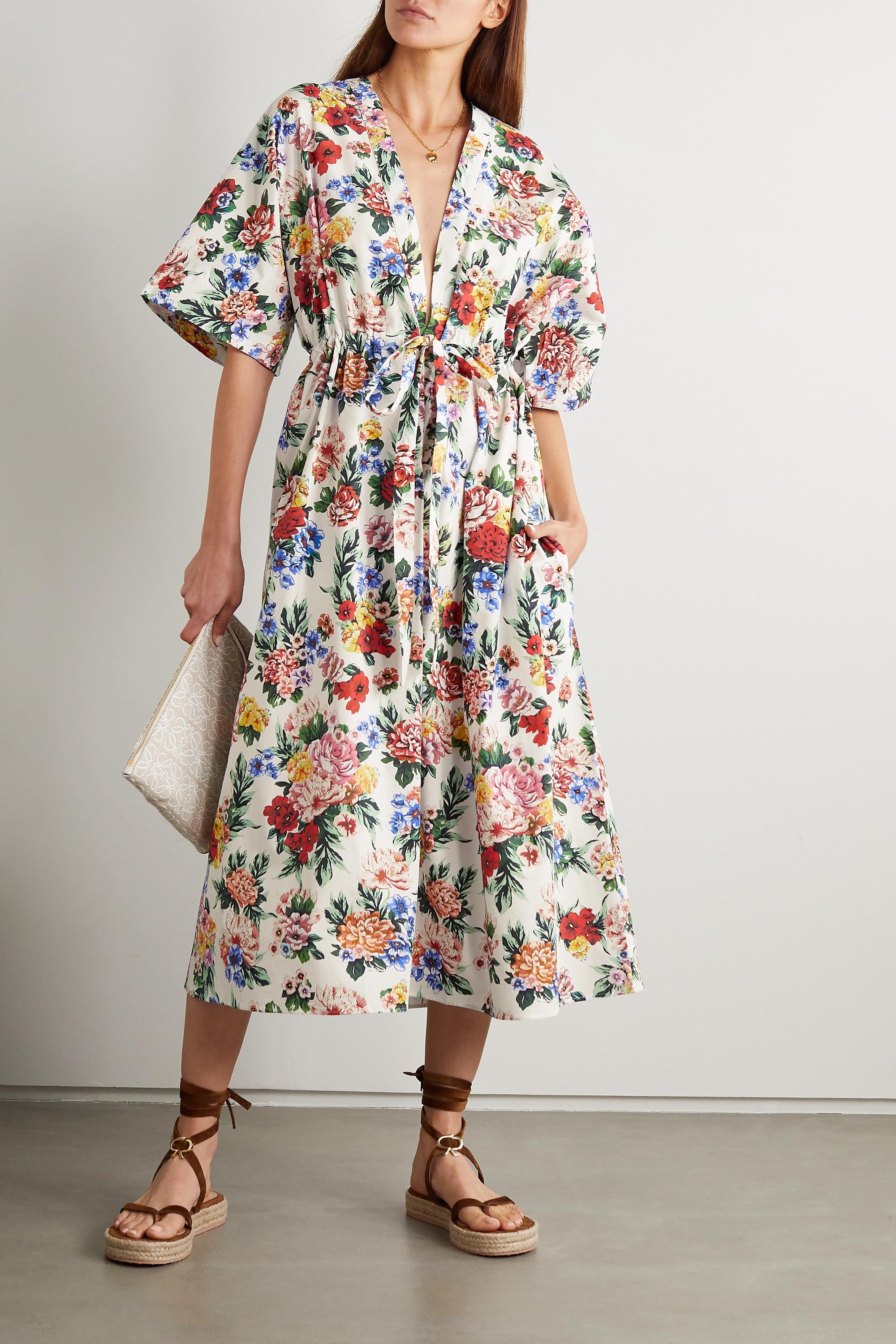 Emilia Wickstead Robe midi en popeline de coton biologique à imprimé fleuri Zarina