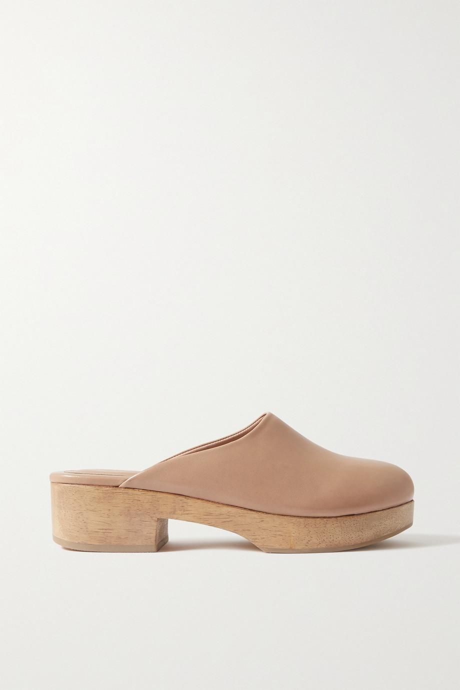 Porte & Paire + Frankie Shop glossed-leather platform clogs