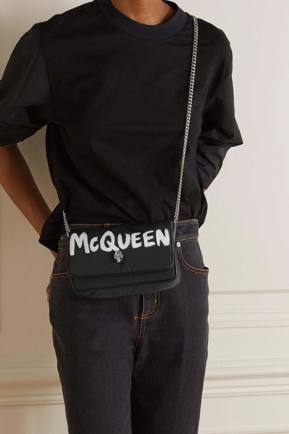 Alexander McQueen Sac porté épaule en nylon imprimé à finitions en cuir Graffiti