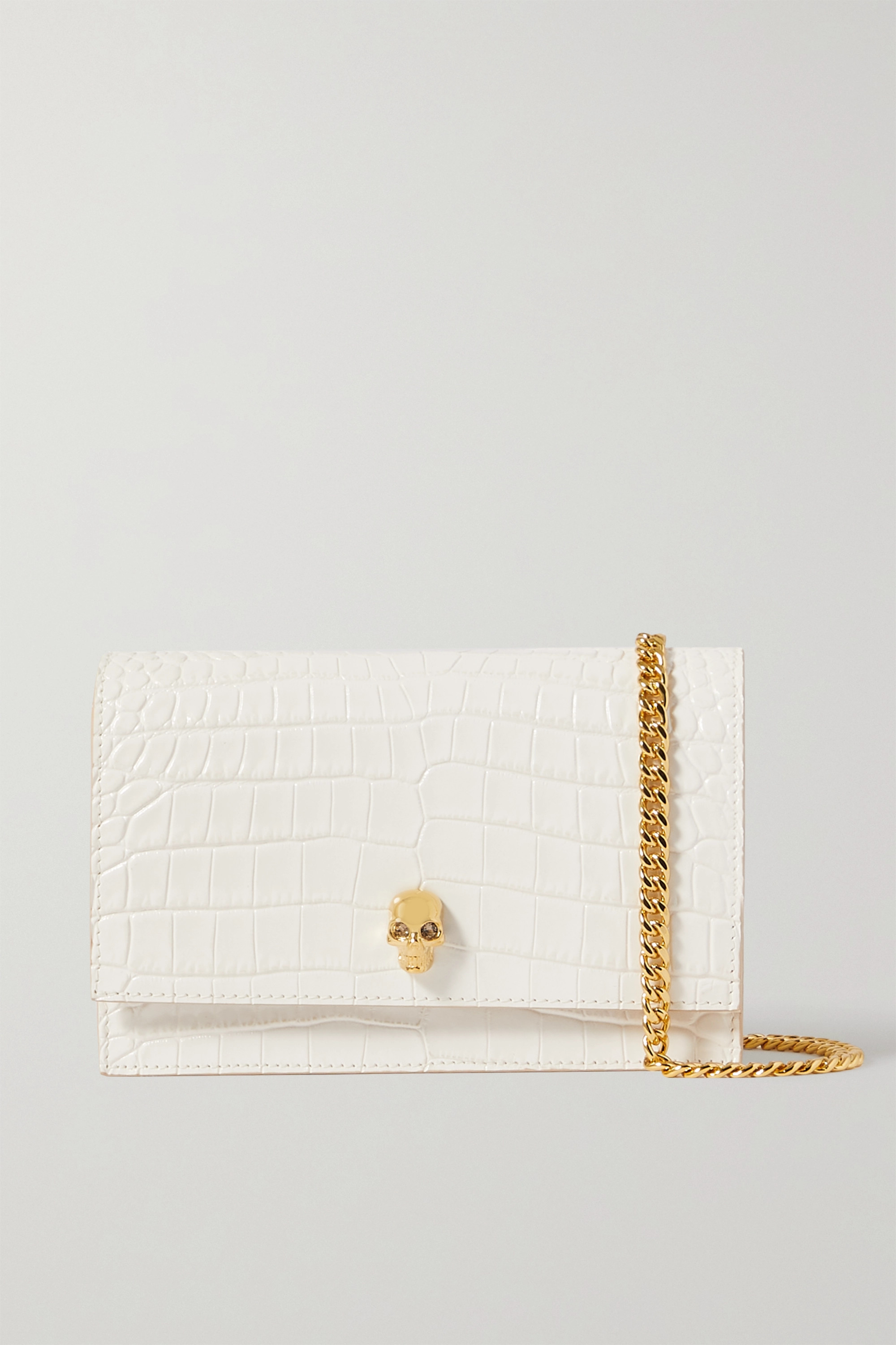 Alexander McQueen - Skull mini embellished croc-effect leather shoulder bag