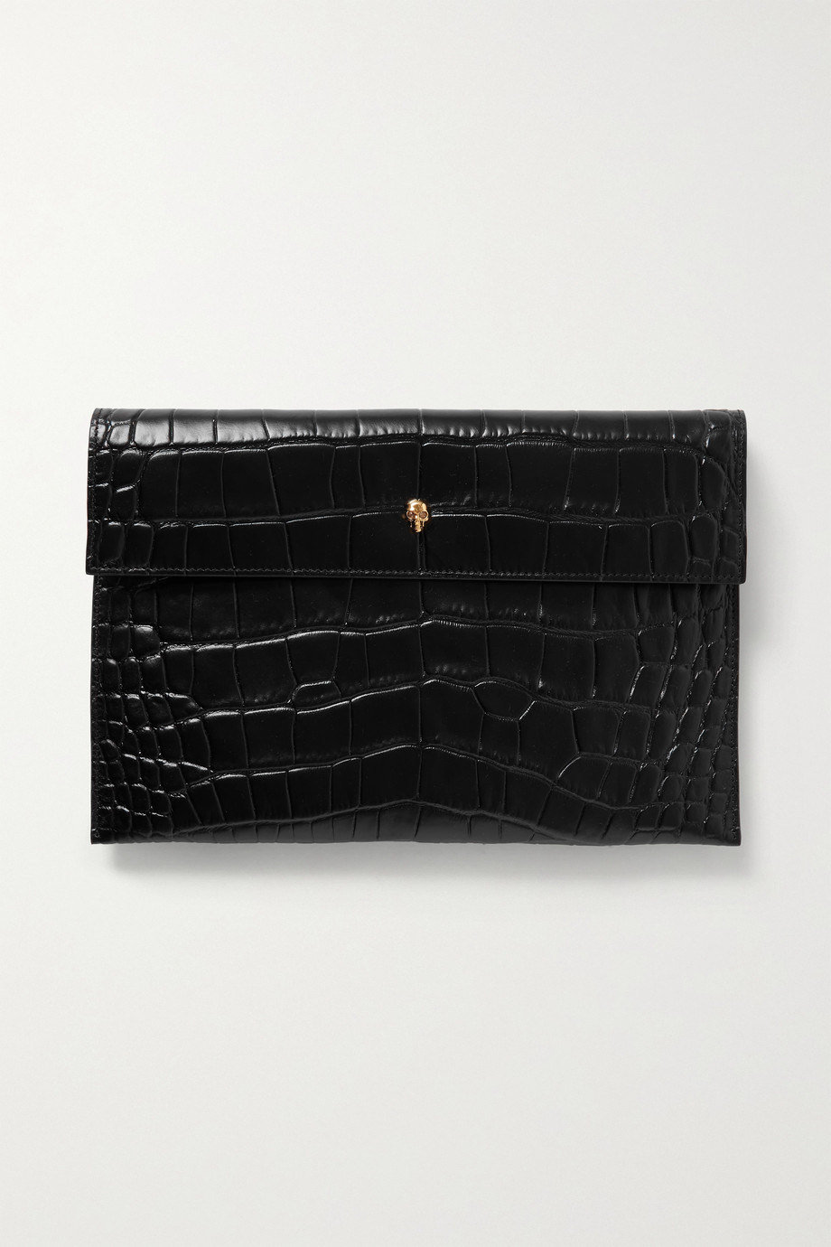 Alexander McQueen Envelope Beutel aus Leder mit Krokodileffekt
