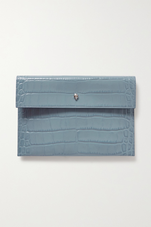 Alexander McQueen - Envelope croc-effect leather pouch