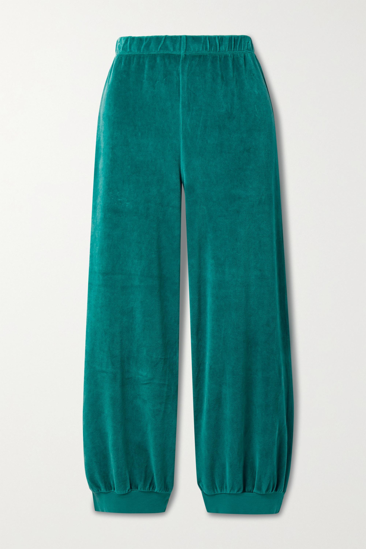 Suzie Kondi - Cropped cotton-blend velour track pants