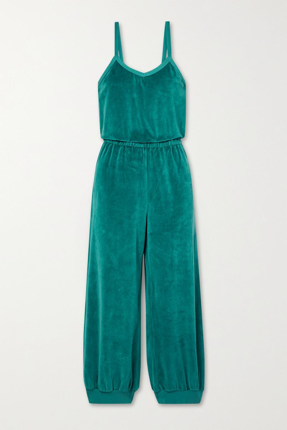 Suzie Kondi Tank cropped cotton-blend velour jumpsuit