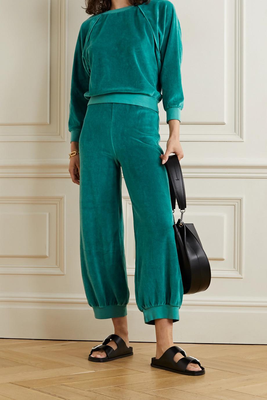 Suzie Kondi Cropped cotton-blend velour sweatshirt