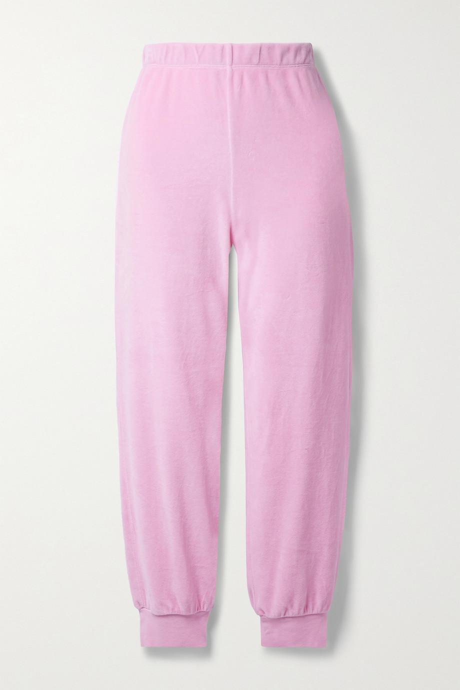 Suzie Kondi Cotton-blend velour track pants