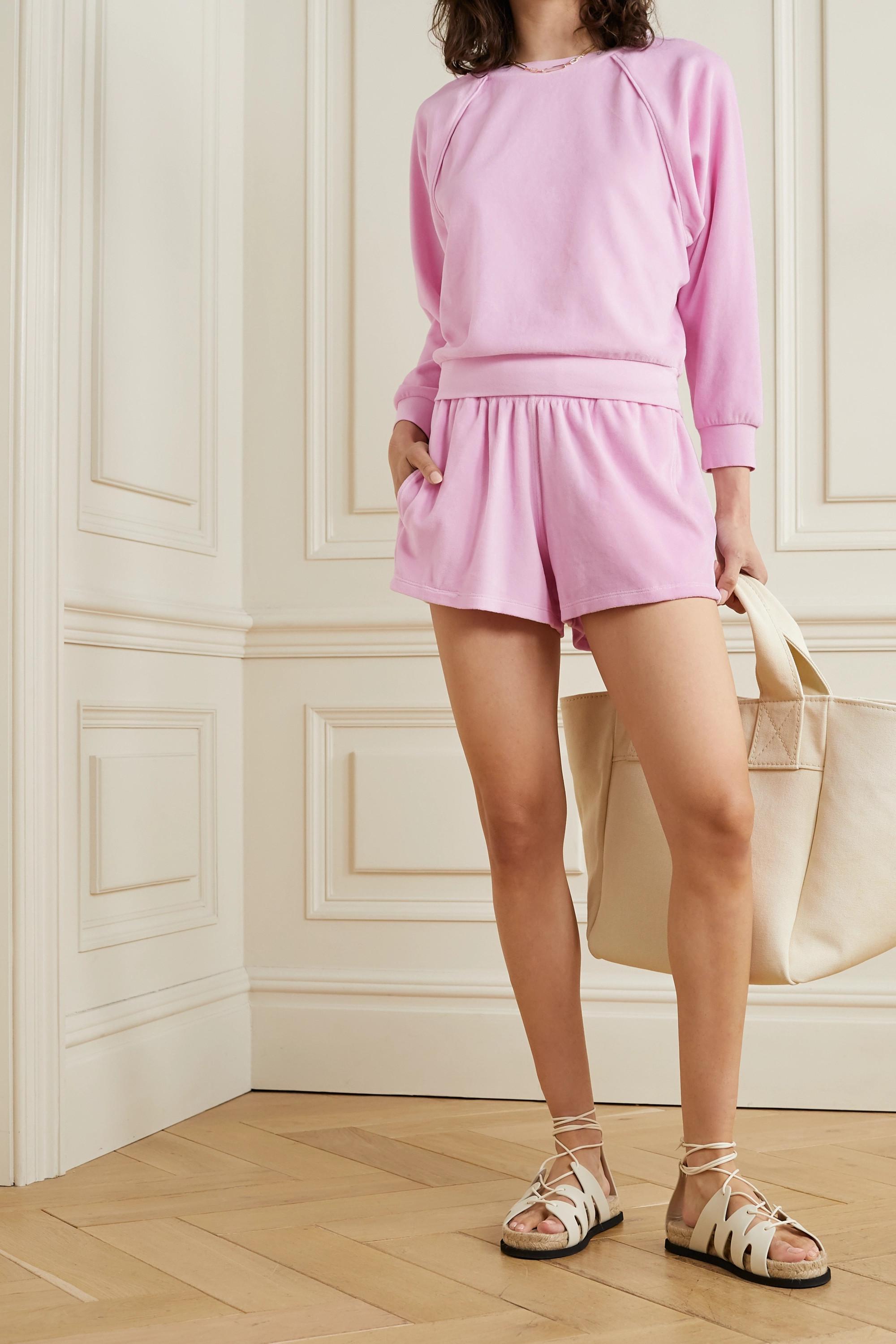 Suzie Kondi Cotton-blend velour shorts