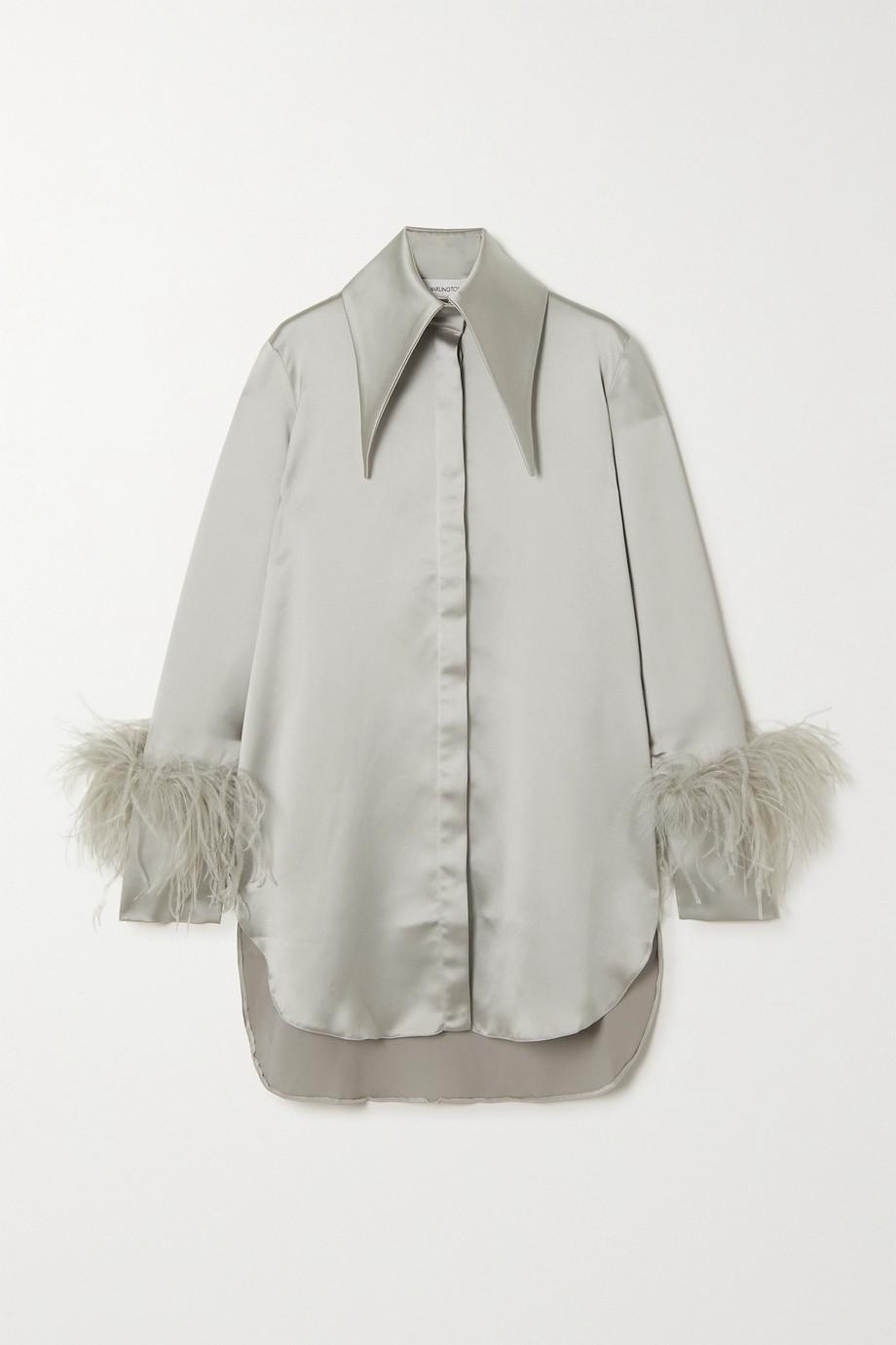 16ARLINGTON Seymour feather-trimmed satin shirt
