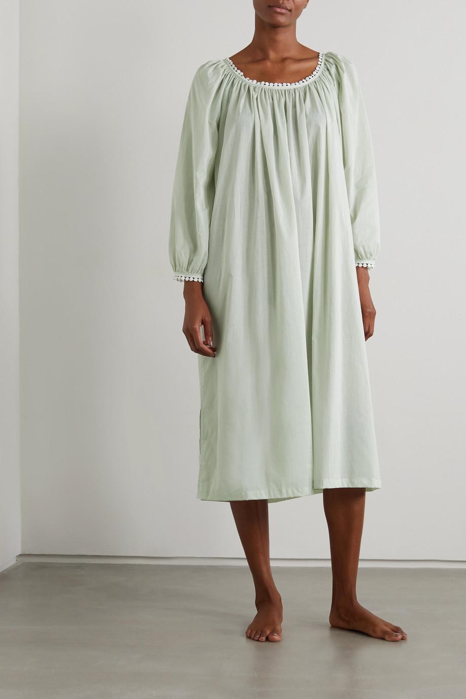 Pour Les Femmes Thilda Nachthemd aus Baumwoll-Voile mit Spitzenbesätzen