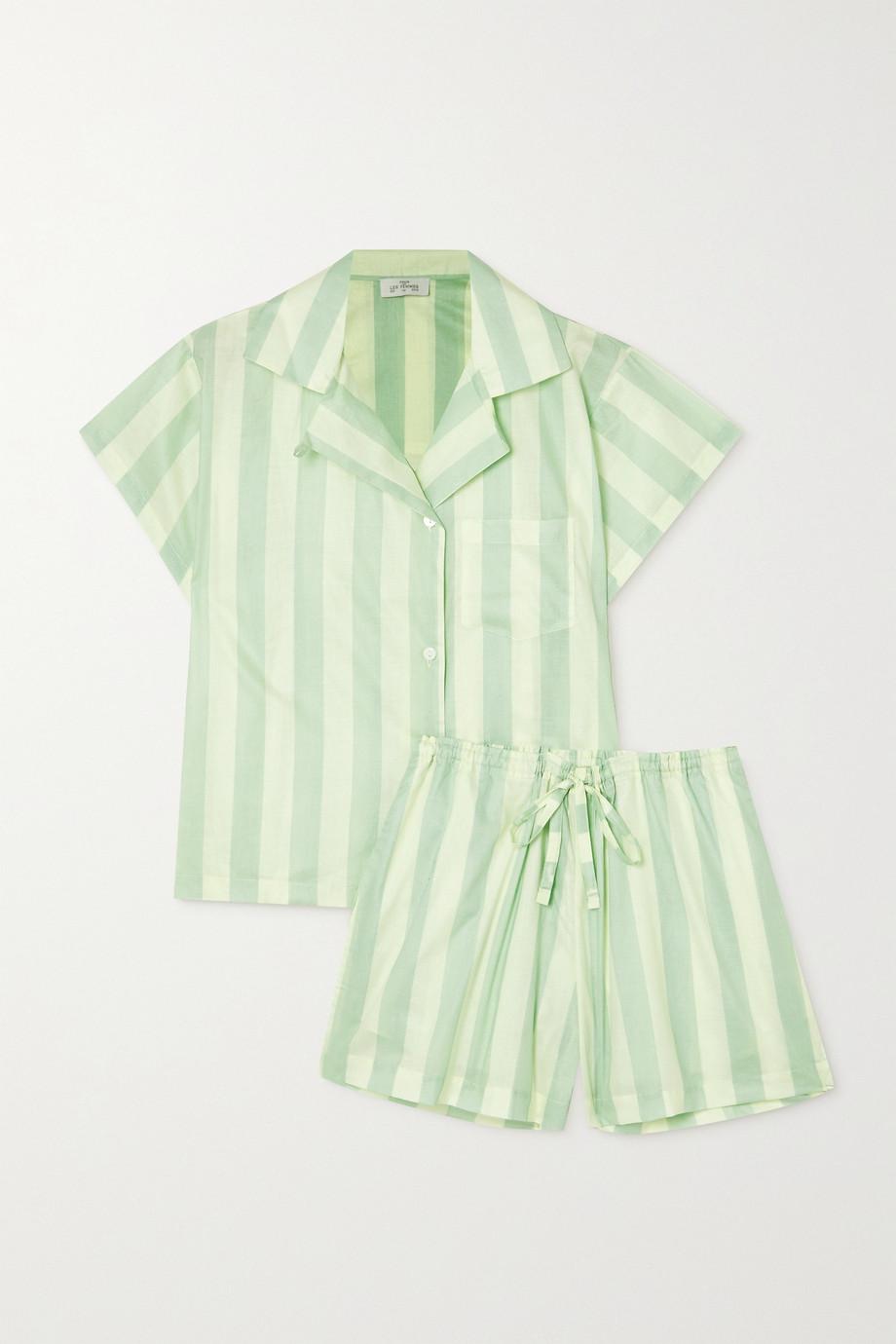 Pour Les Femmes Apoline Pyjama aus Baumwoll-Voile mit Streifen