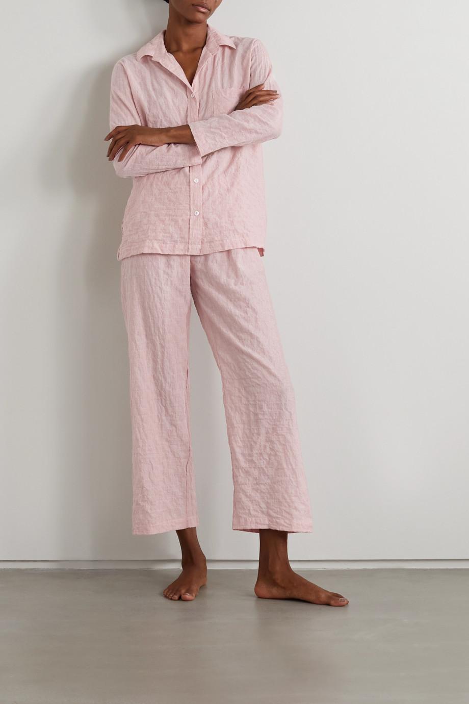 Pour Les Femmes Pyjama aus Biobaumwoll-Voile in Knitteroptik