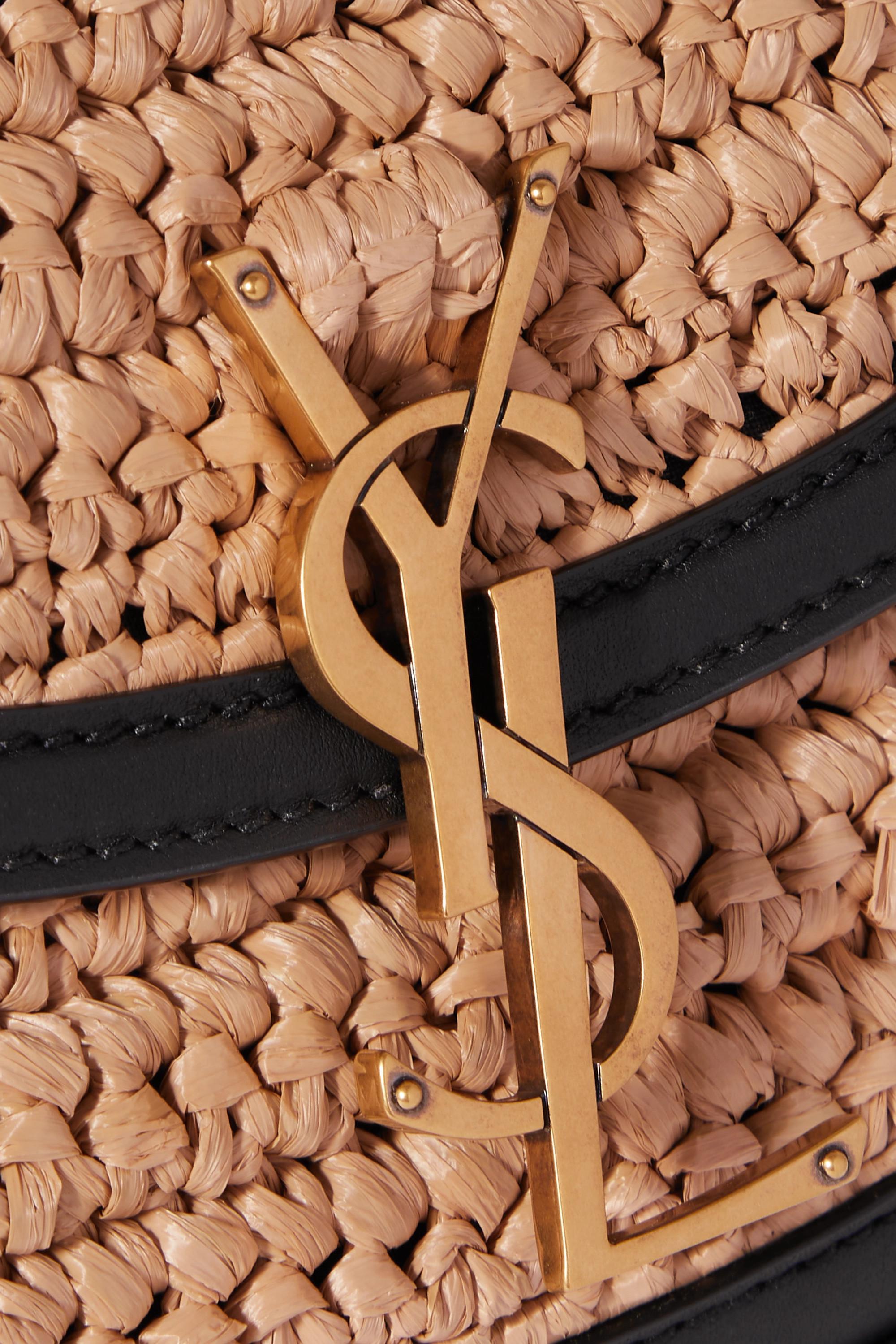SAINT LAURENT Kaia small leather-trimmed raffia shoulder bag