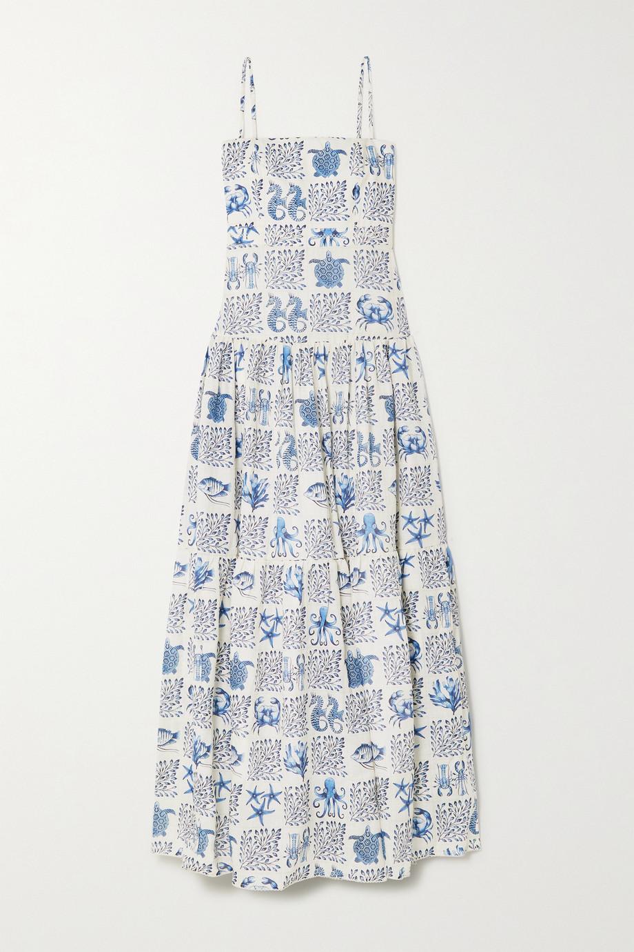 Agua by Agua Bendita Lima tiered printed linen maxi dress
