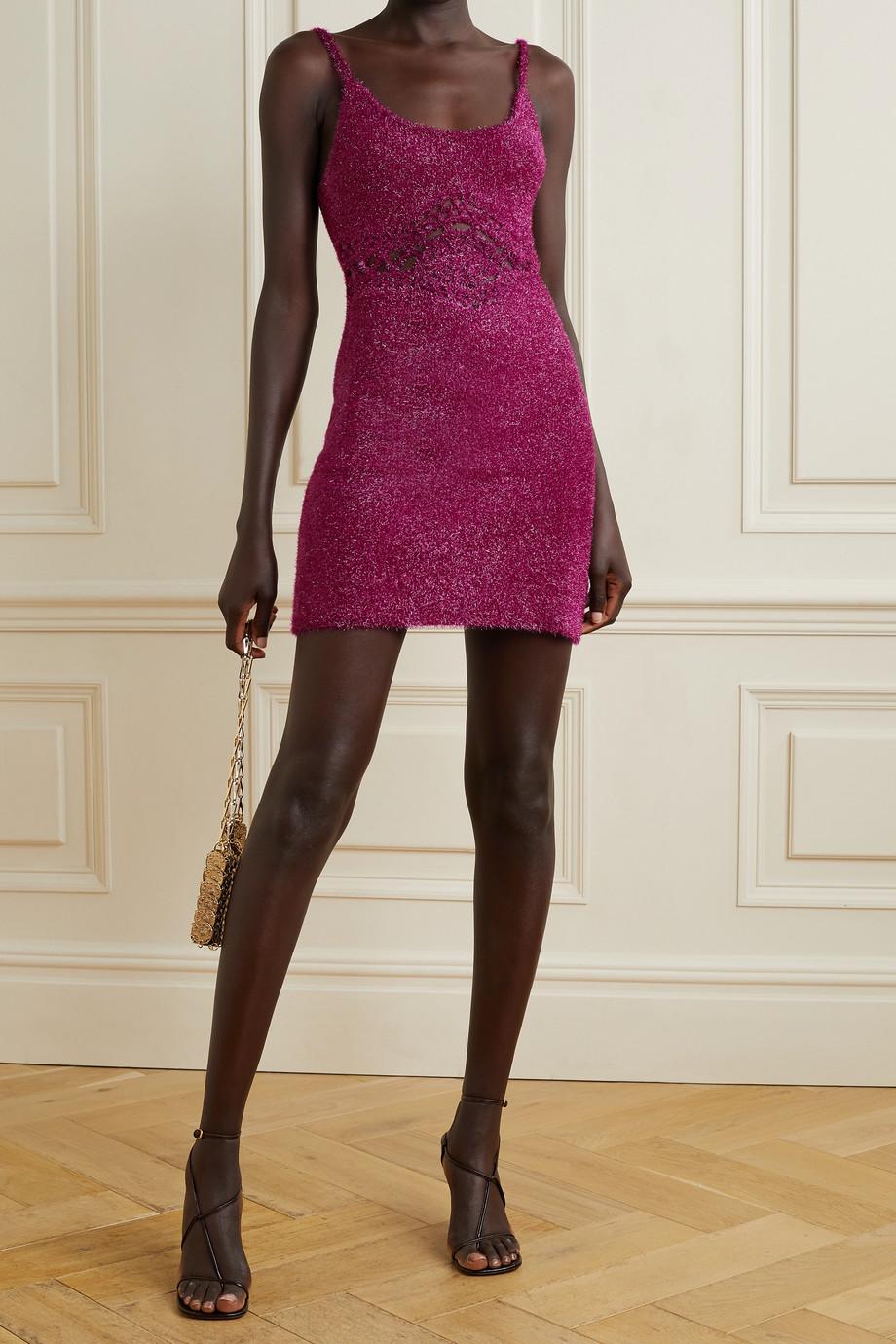 AREA Mini-robe en mailles métallisées à découpes