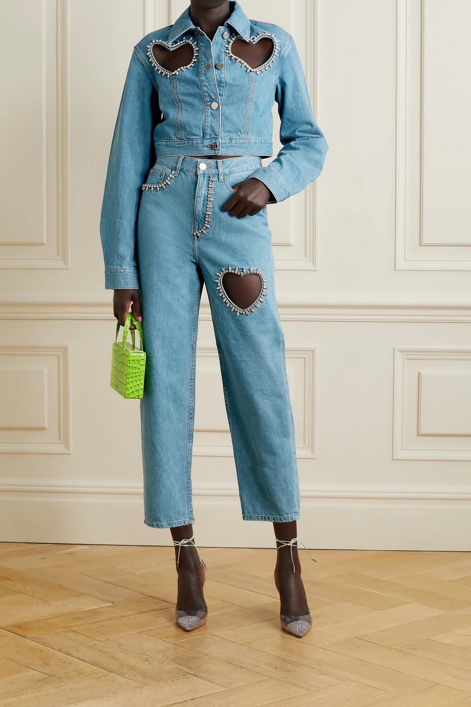 AREA Jeansjacke mit Cut-outs und Kristallen