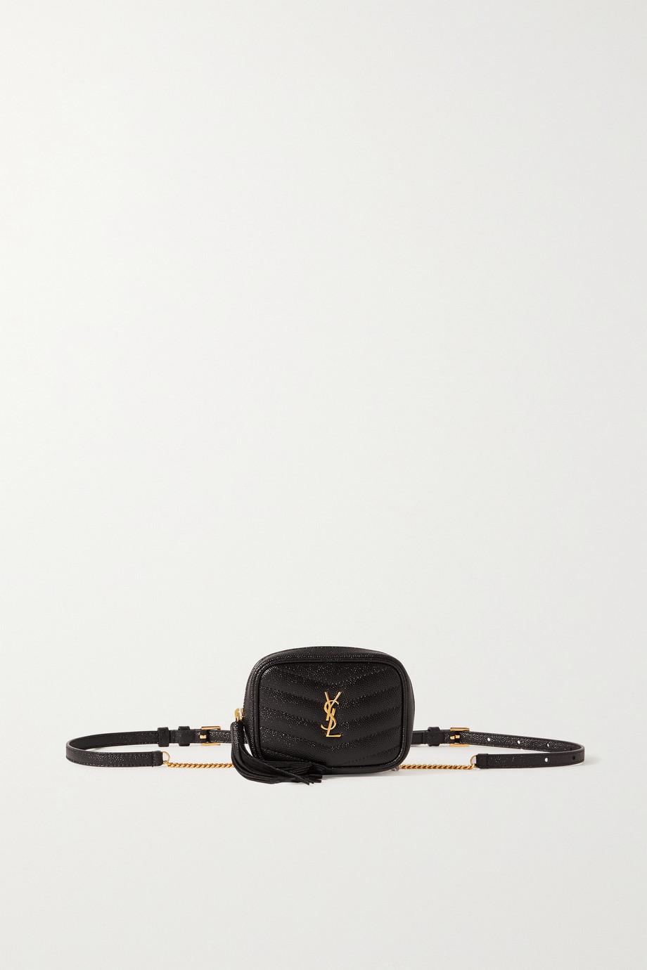 SAINT LAURENT Marsupio mini quilted textured-leather belt bag
