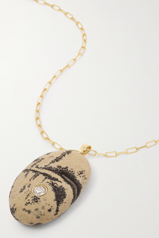 CVC Stones Chaos Kette aus 18 Karat Gold mit Kieselstein und Diamanten