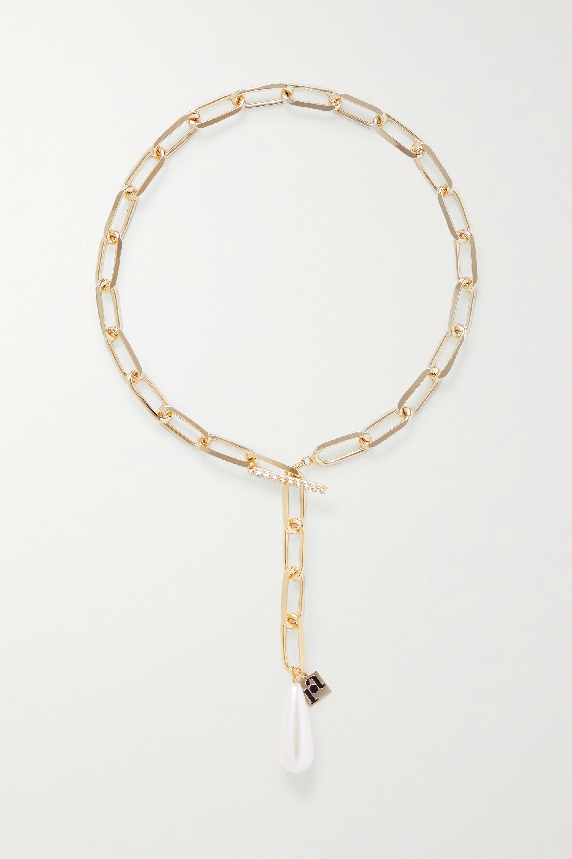 Rosantica Promessa goldfarbene Kette mit Kristallen und Kunstperle