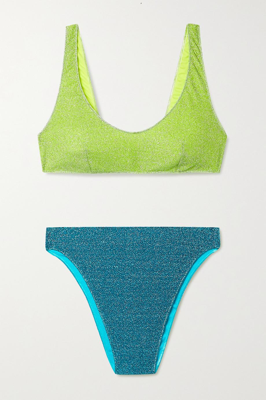 Oséree Lumière 90s zweifarbiger Bikini aus Stretch-Lurex®